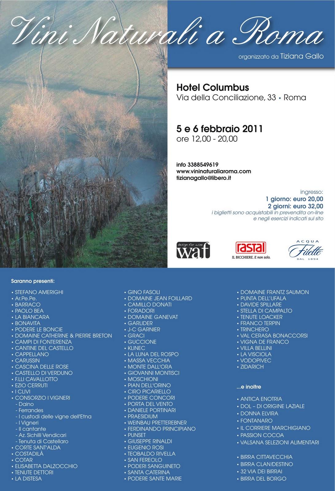 5-6 febbraio, Vini Naturali a Roma