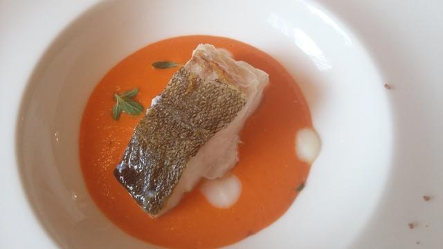 Filetto di baccalà su crema di pomodoro e origano fresco