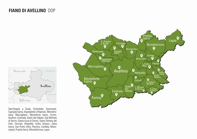 Area di produzione del Fiano di Avellino Docg - Crediti: campaniastories.com
