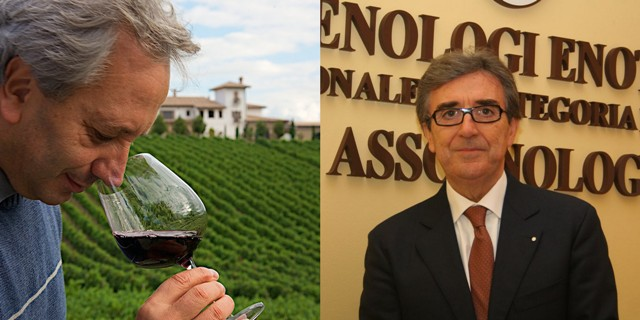 """Luigi Moio e Riccardo Cotarella, co-artefici dei principali """"Supercampani"""" nati negli anni '90 Crediti foto: aisnapoli.it e statodonna.it"""